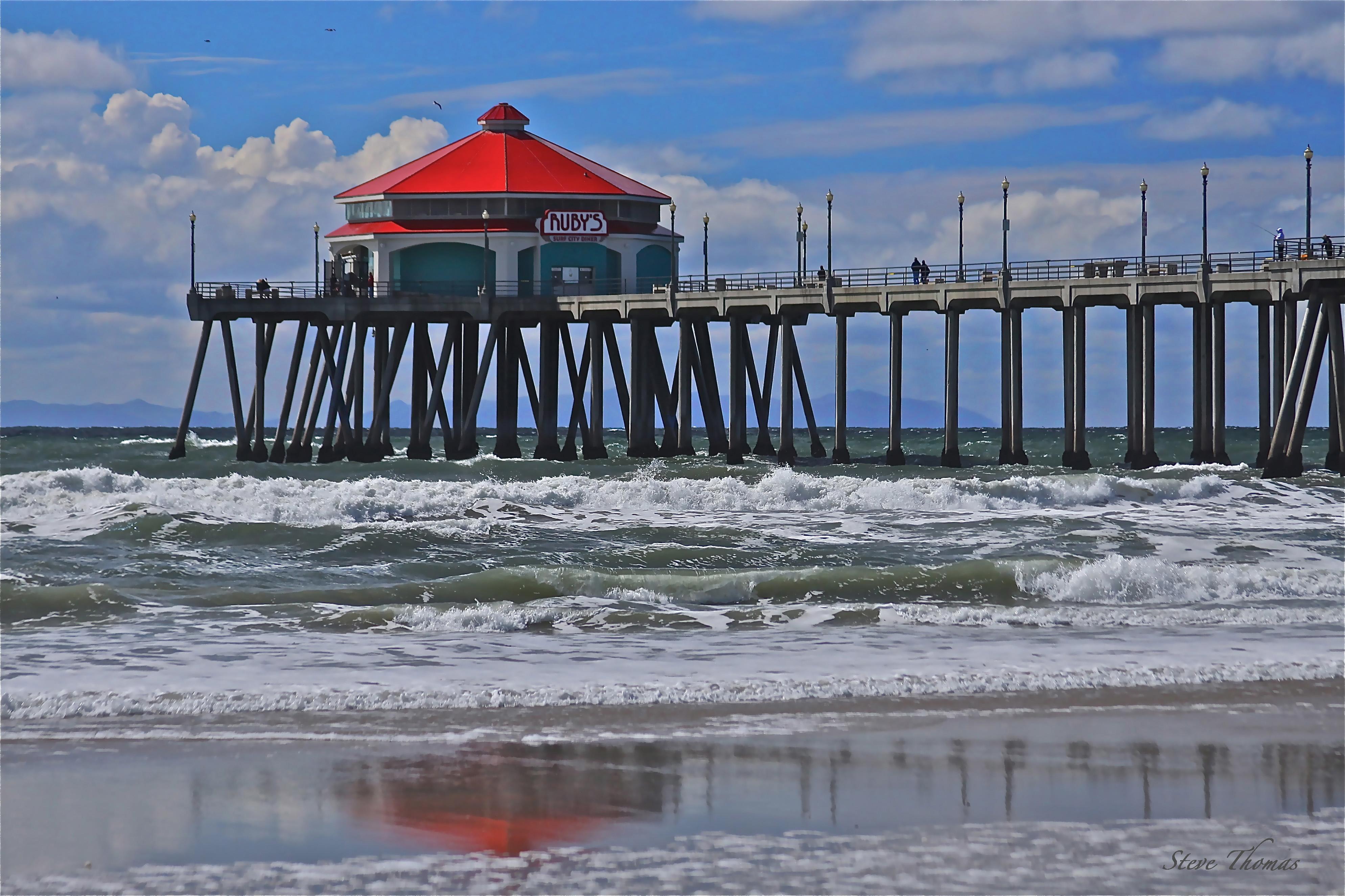 Beach Pier Drawing Huntington Beach Pier